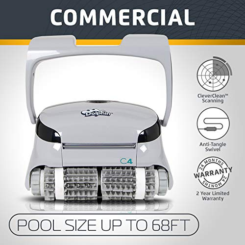 Dolphin C4 Commercial Robotic Pool Cleaner with Active Brushing and Dual Cartridge Filters, Ideal for Industrial Swimming Pools up to 68 feet.