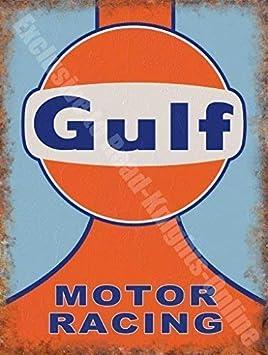 Gulf Moteur Racing Team Motorsport Garage Classique Métal/Acier Panneau Mural - 9 x 6,5 cm (Aimant)
