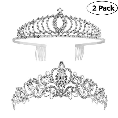 Tiaras and Crowns,Vinsco 2 Pack Crystal Tiara Crown Headband Headpiece Rhinestone Hair Jewelry for Women Ladies Little Girls Bridal Bride Princess Queen Birthday Wedding Pageant Prom Party Sliver -
