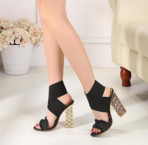 KUKI Crystal Rough mit offenen Zehen Sandalen wilde High Heel Cross elastische Schuhe 2