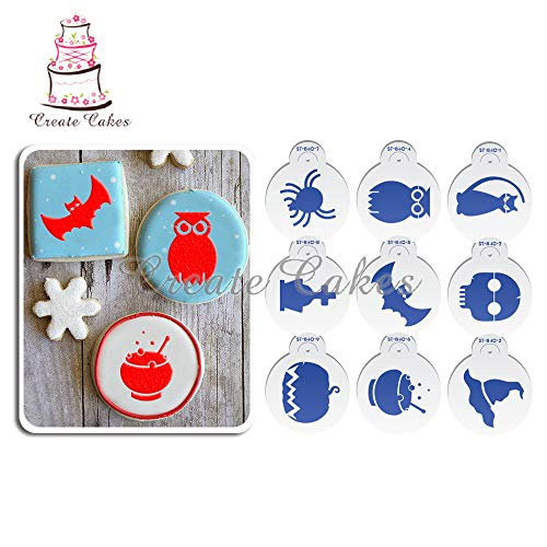1 lot Halloween Cookies Stencil Set Fondant Cake Plastic Stencil for Cupcake Decoration Template Mold Cake Decorating Tools Bakeware -