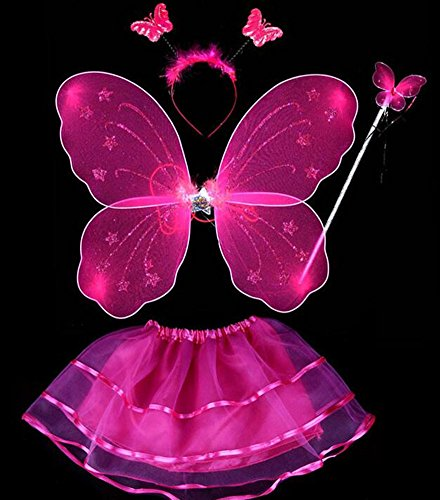 [LFHT 4pcs Kids Fairy Princess Butterfly Wing Wand Headband Tutu Skirt Halloween Party Costume Set for Girls Dress up (Hot Pink)] (2-3 Year Old Halloween Costumes)