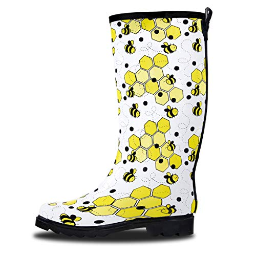LONECONE Women's Patterned Mid-Calf Rain Boots, Bumble Boots, 9]()