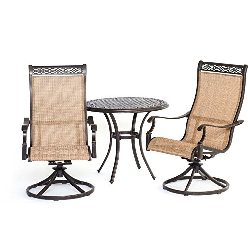 Hanover Manor 3-Piece Bistro Dining Set Cast/Sling MANDN3PCSW-BS