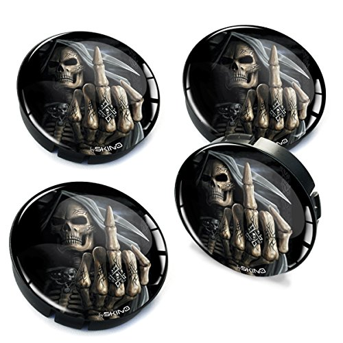 Skino 4 x 2.36 Inch / 60mm / 3D Gel Car Rims Wheel Center Hub Caps Auto Tuning Zombie Skull Skelett Middle Finger C ()