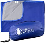 High Cedars Living XL Outdoor Waterproof Blanket, Stadium Throw with Fleece, Windproof, Rainproof, Sandproof Mat for Beach, Picnic, Camping, Festival, Sports, Dogs, Travel, Machine Washable 78 x 55 In