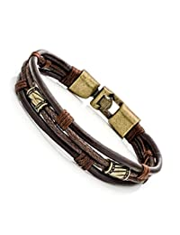 JieYu Fashion Retro Men's Leather Bracelet Clothing Accessories Wrap Multilayer Wristband Bangle Chain (Gold)