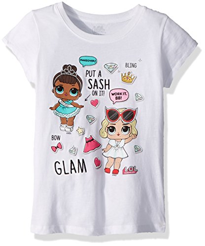 Glam Girl T-shirts - L.O.L. Surprise! Girls' Little Glam Club Miss Baby & Leading Baby Short Sleeve T-Shirt, White, M-5/6