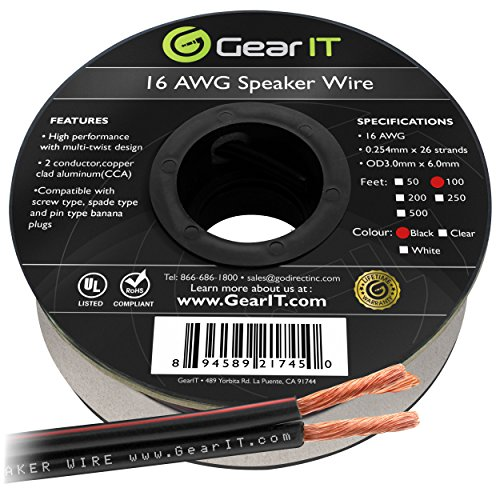 GearIT Pro 16 AWG Gauge Speaker Wire Cable, 100-Feet (30.48 Meters), Black