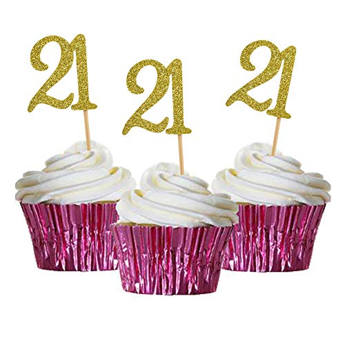 HOKPA Cupcake Cake Toppers 21st Birthday, Golden Glitter Number 21, Adult Ceremony Birthday Celebrating, Anniversary Party Decor (24PCS)