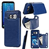 Shinyzone Durable Premium PU Leather Back Case for Samsung Galaxy S8 Plus,Two Buckle Wallet Flip Case with Credit Card Holder [Stand Function] Shockproof Cover for Samsung Galaxy S8 Plus,Blue