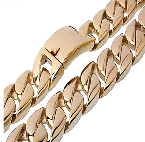 Innovative jewelry 31mm Wide Gold Plated Heavy Casting Curb Link Chain Strong Men's Stainless Steel Necklace Or ()