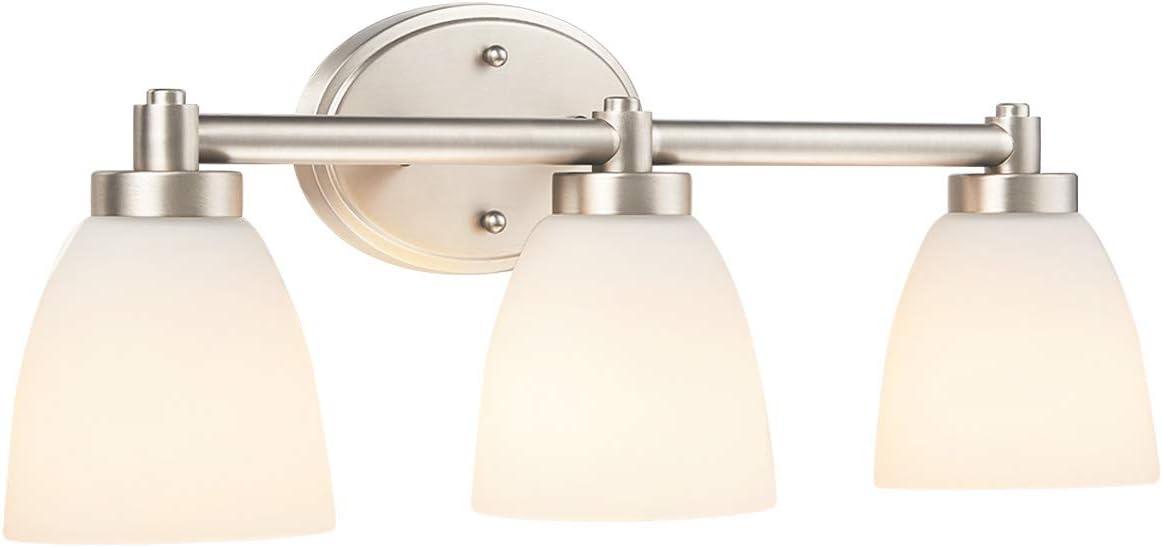 Amazon Com 3 Light Bathroom Vanity Light Fixture Brushed Nickel Bathroom Lighting Fixture W Frosted Glass Shade Home Improvement