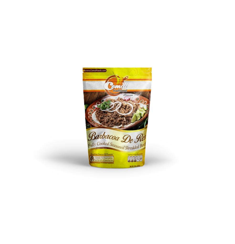 Comal Traditional Foods |Tasty and Flavorful Chicken, beef and pork | Ready-to-eat | No Gluten | Keto friendly| Mexican food (Shredded beef ( Barbacoa ), Pack of 1)