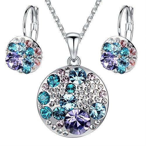 Leafael Ocean Bubble Women's Jewelry Set Made with Swarovski Crystals Aquamarine Blue Purple Costume Fashion Pendant Necklace Earring Set, Silver Tone, 18