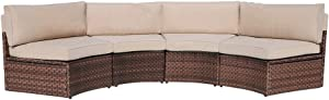 SUNSITT 4-Piece Outdoor Half-Moon Sectional Wicker Sofa Set Patio Furniture, Brown PE Rattan and Beige Cushions
