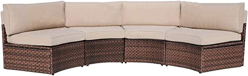 SUNSITT 4-Piece Outdoor Half-Moon Sectional Wicker Sofa Set Patio Furniture