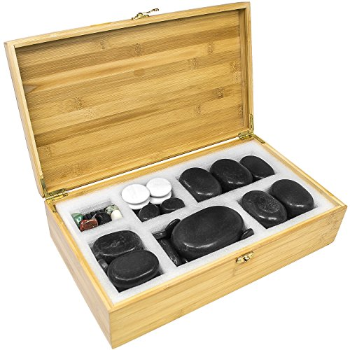 Sivan HEALTH and FITNESS Basalt Lava Hot Stone Massage, 60 Piece Kit *New and Improved Packaging*