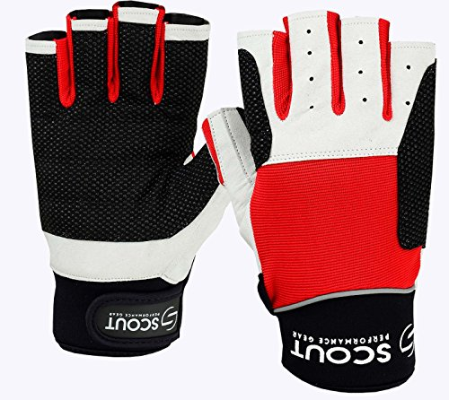 ScoutPerformanceGear Sailing Gloves Red White – 3/4 Finger Padded Silicon Printed Palm – Spandex Back for Best Sailing - Fishing Experience for Men Women
