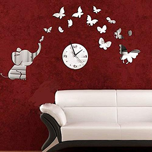 Allequal Elephant Play Butterfly DIY Wall Stickers Wall Clock Petals Pattern Sticker DIY Mirror Wall Clock Wall Sticker Home Decoration