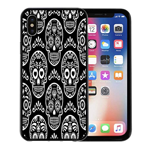 Semtomn Phone Case for Apple iPhone Xs case,Pattern Mexican Sugar Skull on Black Halloween White Candy Celebration Calavera Cool for iPhone X Case,Rubber Border Protective Case,Black -