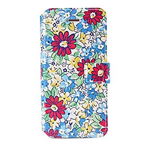 Flores rojas patrón de caja de cuero azul con tenedor y ranuras para tarjetas de iphone 5c