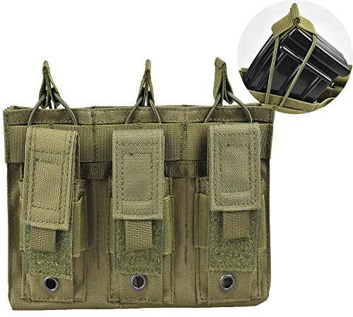 (Jffcestore Upgraded Version Tactical Triple Pistol and Rifle Mag Pouch Kangaroo Magazine Pouch Holds M4/M16 Mag Optional Multicam Black Green DE 4 Color(Triple)