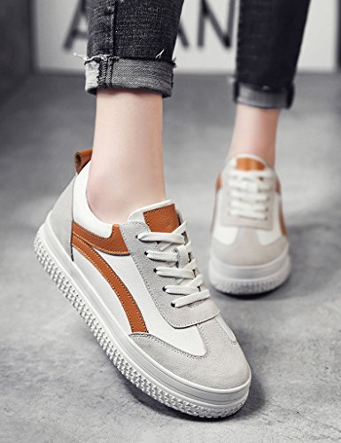 ocasionales para White orange Color HWF de Tamaño mujer de Orange gruesa de de de mujer primavera mujer planos mujer Zapatillas Playera Zapatos Zapatos deportivos Zapatos 38 plataforma White 5qxFz