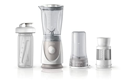 Philips Daily HR2874/00 - Batidora Americana de Vaso, 350 W, Jarra 0.6 L, Plástico Ultra Resistente, Picador, Vaso On the go, Color Gris