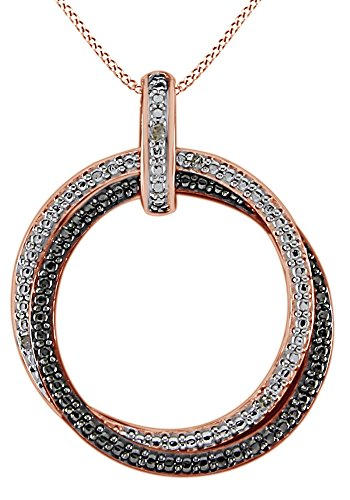 White Diamond Accent Dual Circle Pendant Necklace in 14K Rose Gold Over Sterling Silver (0.01 Ct)