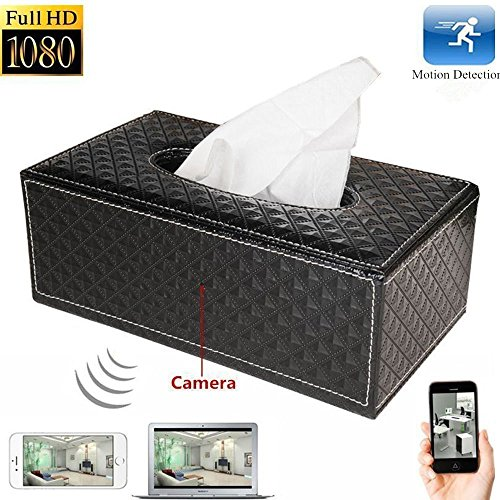 HD 8GB 1080P Hidden Wireless WIFI Spy Camera Tissue Box Support Remote Control Video Shooting and Motion Activities Detected Real-time Viewing by APP Nanny CAM for Home Security Surveillance