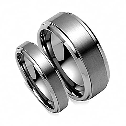 His & Her's 8MM/6MM Brush Center StepEdge Tungsten Carbide Wedding Band Ring Set , E-mail sizes , Ladies Size 8 - Mens Size (His And Her Rings Tungsten)
