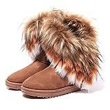 NOT100 Women Winter Warm High Long Snow Ankle Boots Faux Fox Rabbit Fur Tassel Shoes (US8, brown2)