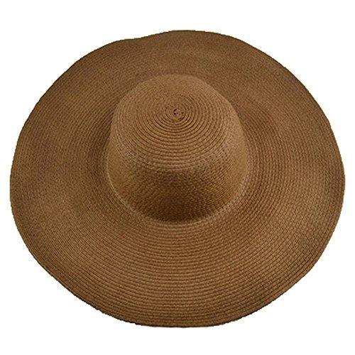 AngelCity Brides Womens Beach Hat Striped Straw Sun Hat Floppy Big Brim Hat (Brown)