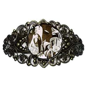 Chicforest Bronze Retro Style Picasso Guernica Art Flower Cuff Bracelet