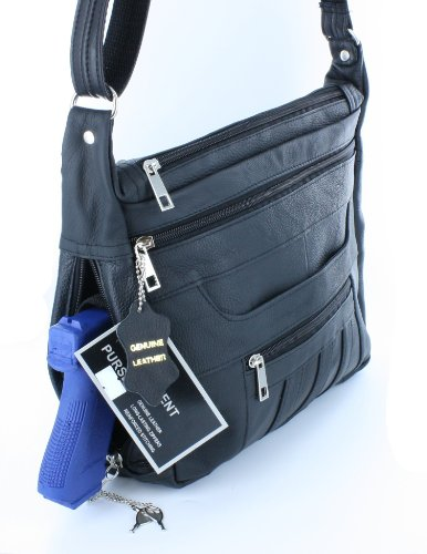 Black Crossbody or Shoulder Carry Leather Locking Concealment Purse - CCW Concealed Carry Gun Bag from Roma Leather