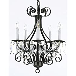 Wrought Iron Crystal Chandelier Lighting Country French , 5 Light , , Ceiling Fixture