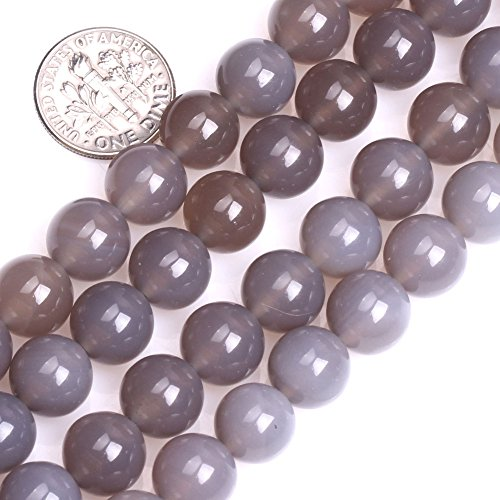 GEM-inside Grey Agate Beads Round Gemstone Gray Loose Beads Agate Beads For Jewelry Making Necklace bracelets 10MM 15 Inches