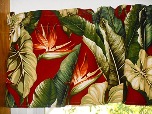 Tropical Hawaiian 100% Cotton Barkcloth Fabric VALANCE ~Bird of Paradise~ - Barkcloth Fabric