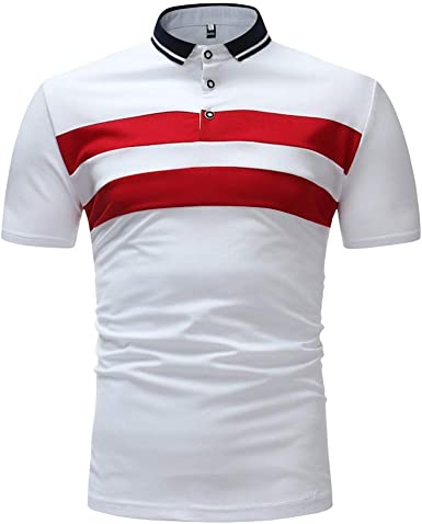 waotier Camisa Slim Fit para Hombre De Negocios De Moda Blusa De Manga Corta Top Camiseta A Rayas Camisa A Rayas para Hombre: Amazon.es: Ropa y accesorios