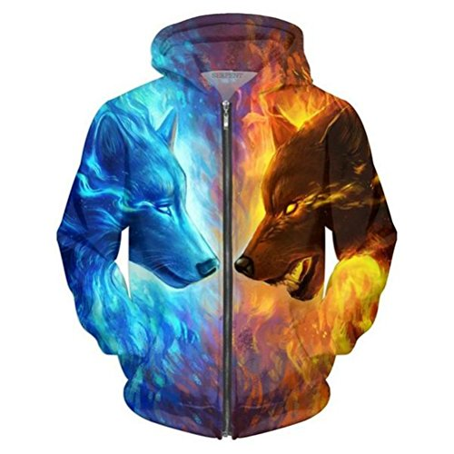 Men/Women Funny 3D Hoodies Mens Animal Ice and Fire Wolf 3D Printed Sweatshirt Fashion Casual Jacket Men Plus Size 5XL S ()