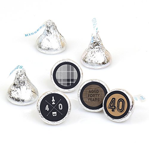 (40th Milestone Birthday - Aged to Perfection - Round Candy Sticker Favors - Labels Fit Hershey's Kisses (1 sheet of 108))