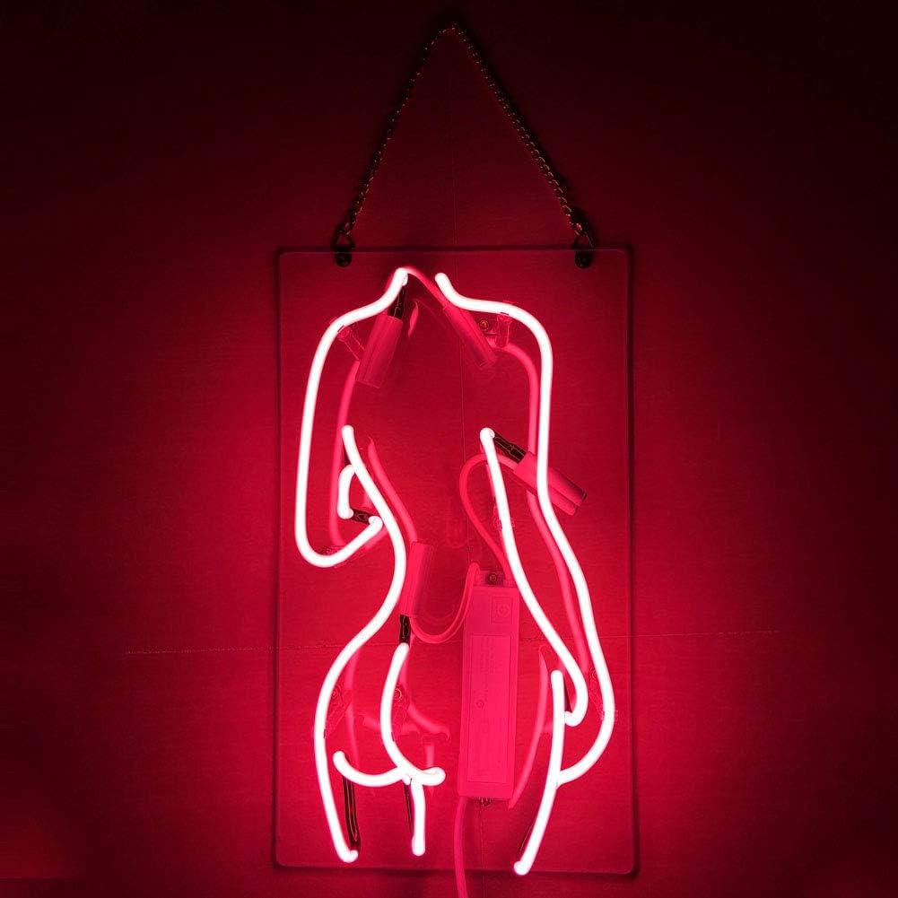 "''Lady Back'' Real Glass Acrylic Panel Handmade Visual Artwork Home Decor Wall Light Real Glass Neon Light Sign Home Beer Bar Pub Recreation Room Game Lights Windows Garage Wall Signs14''x8"" (Pink)"