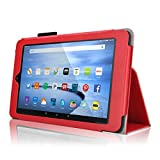 Case for Fire HD 10 - Elsse Premium Folio Case with Stand for the NEW Fire HD 10, 10 Display (Sept, 2015 Release) - Red