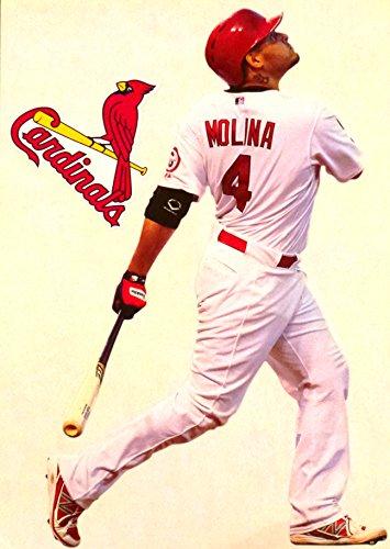 Yadier Molina Mini FATHEAD + St. Louis Cardinals Logo Official 2017 MLB Vinyl Wall Graphics 7