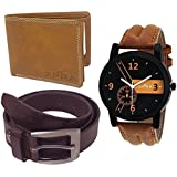 XPRA Analog Watch, Leather Belt & Leather Wallet Combo Gift Pack for Men & Boys - (WL-3CMB-16)