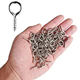 extra long hook and eye - AxeSickle Small Screw Eye 100PCS 1 inch Silver Color Zinc Plated Metal Cup Hooks Eye Shape Screw Hooks Self-tapping Screws Hooks Ring.