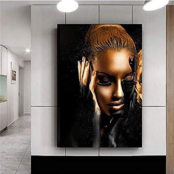 wtnhz Arte Africano Mujer Oro Negro Desnudo decoración del hogar Regalo Sin Marco