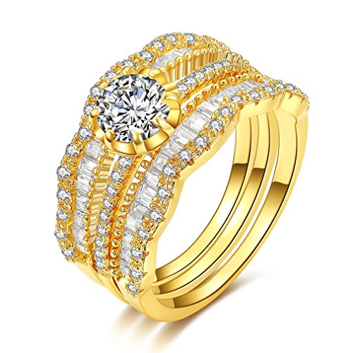 Price comparison product image Bella Lotus Vintage Band CZ Diamond 3pcs Stackable Eternity Ring Set 18k Yellow Gold Plated,Size7