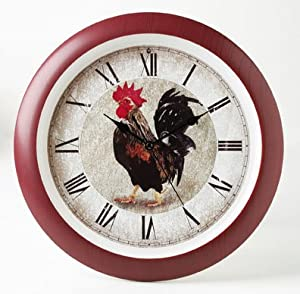 antique style rooster kitchen wall clock sounds every hour